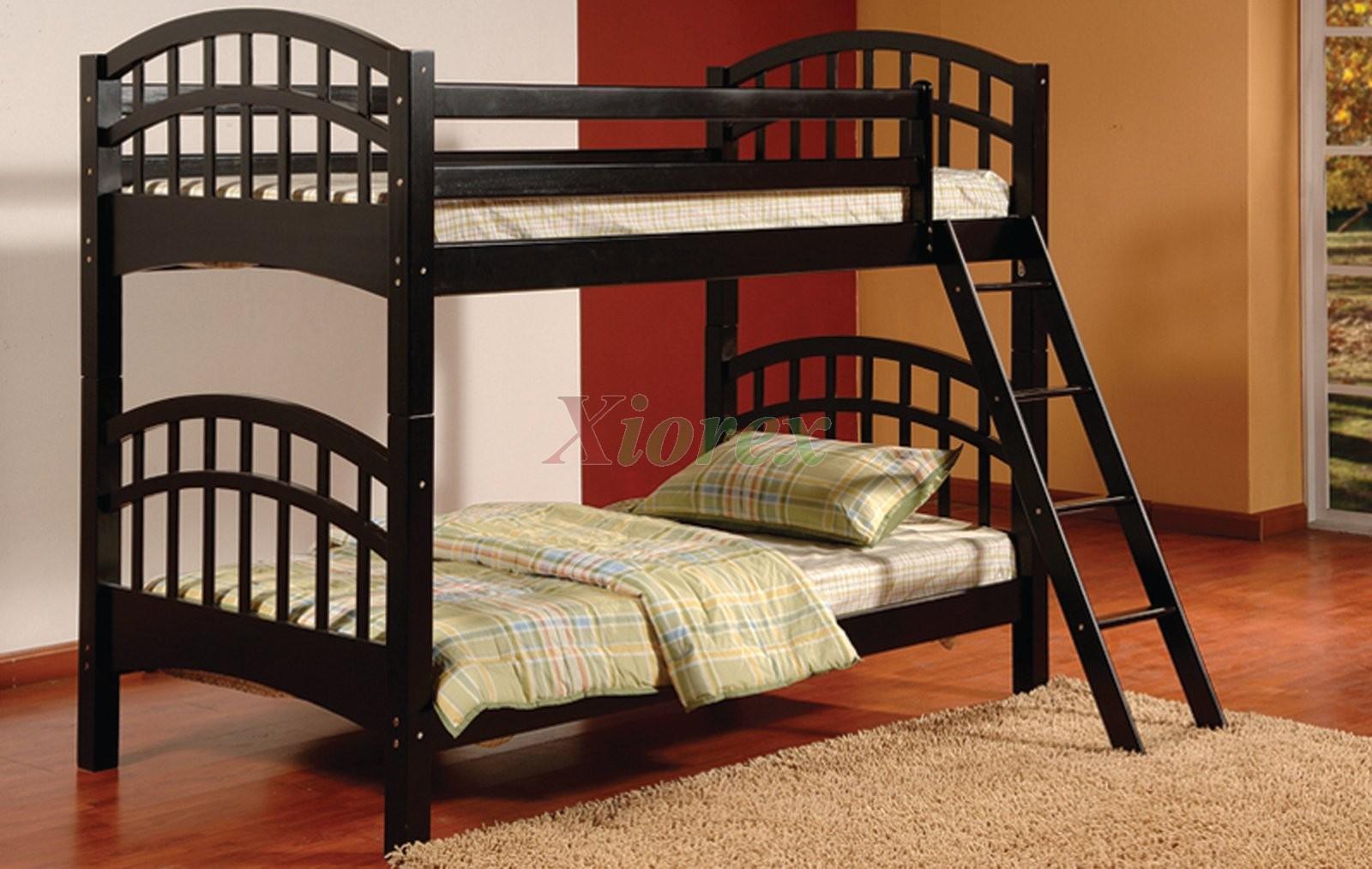 Achird twin twin kids bunk beds in black and white xiorex Black bunk beds