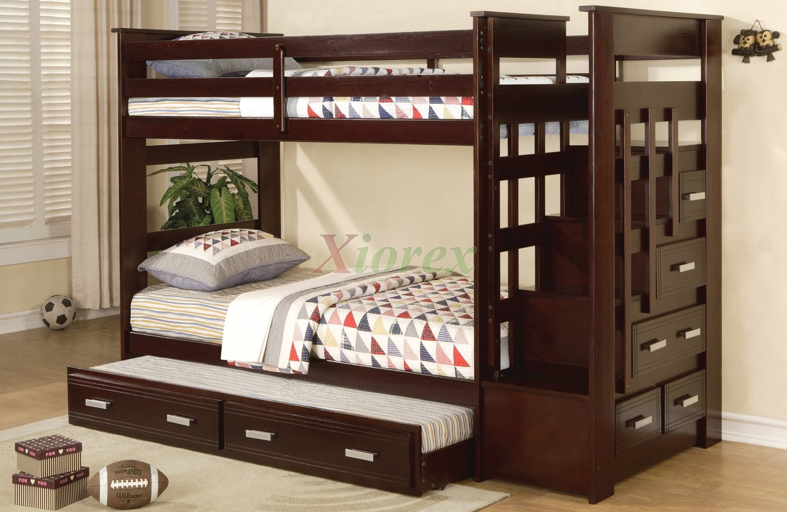 Picture of: Acrux Twin Bunk Bed With Stairs And Trundle Bed In Espresso Xiorex