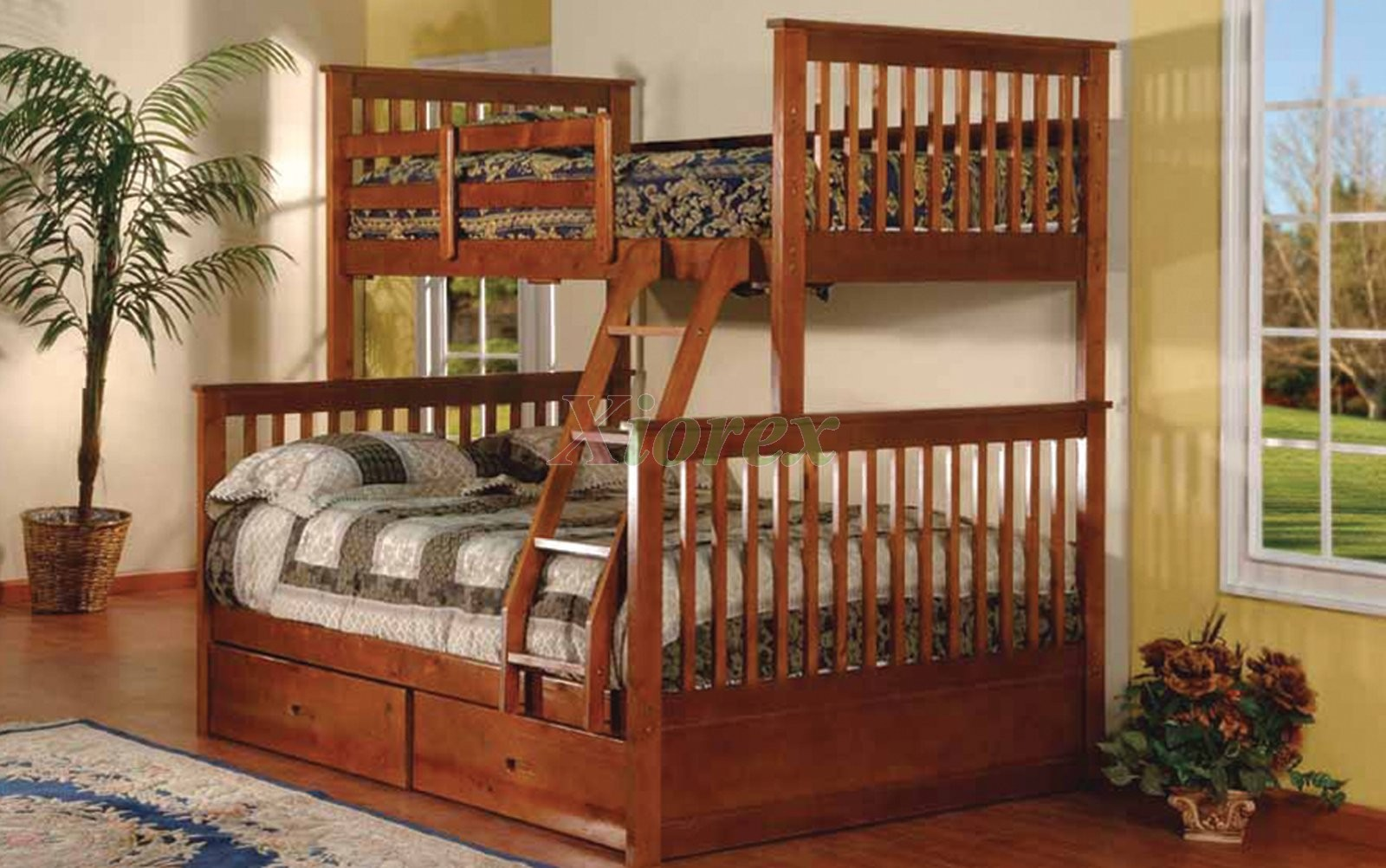 Adhara twin over full bunk bed with storage drawers xiorex - Bunkbeds with drawers ...