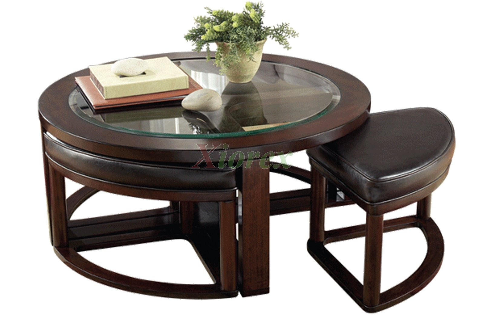 Aquarii round coffee table with stools xiorex for Table with coffee