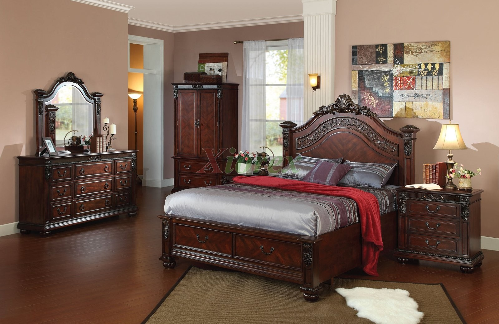 Bedroom Furniture Set 109 w Arched Headboard Queen Bed ...