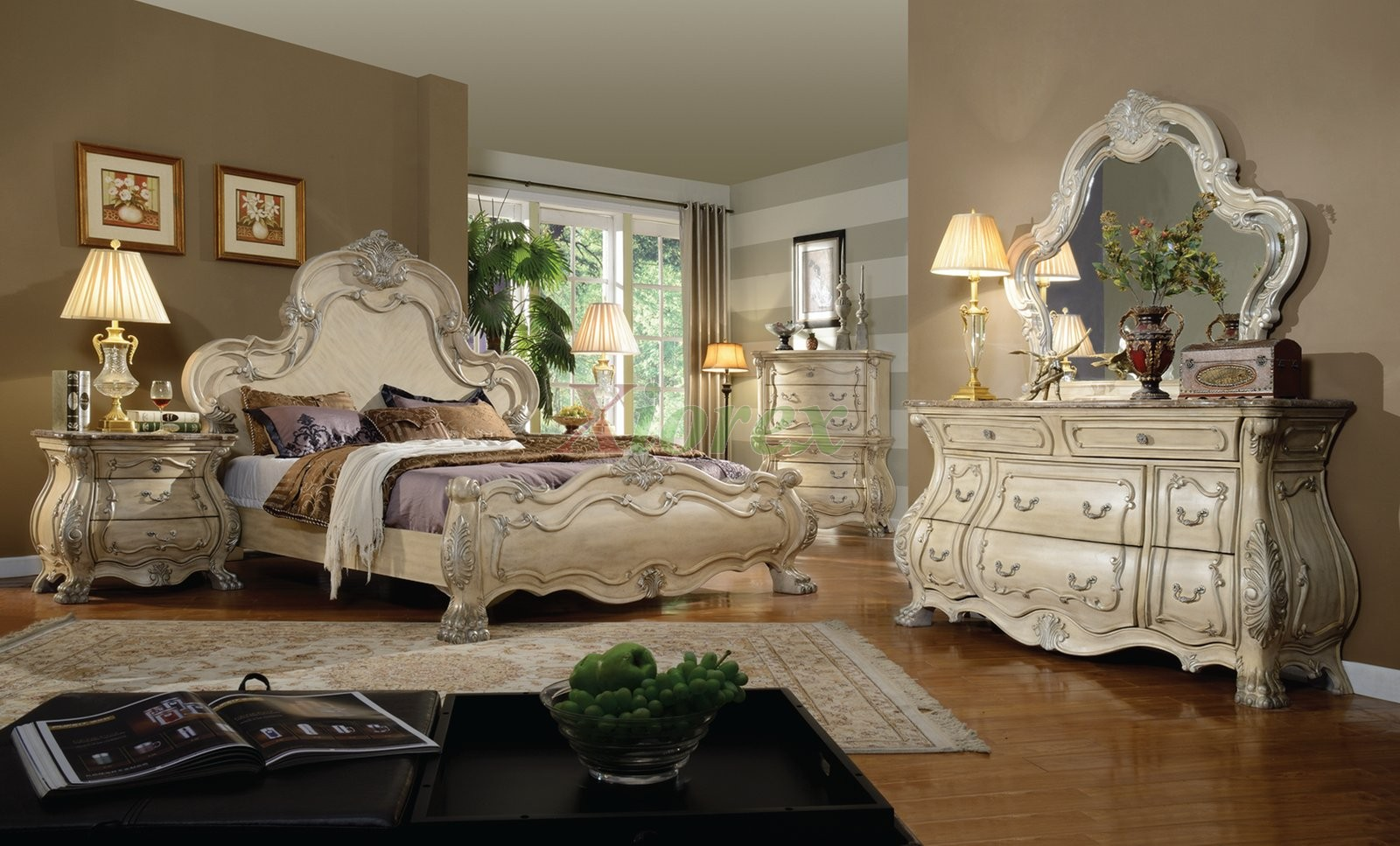 Bedroom Furniture Set  With Craftede Dresser Chest And