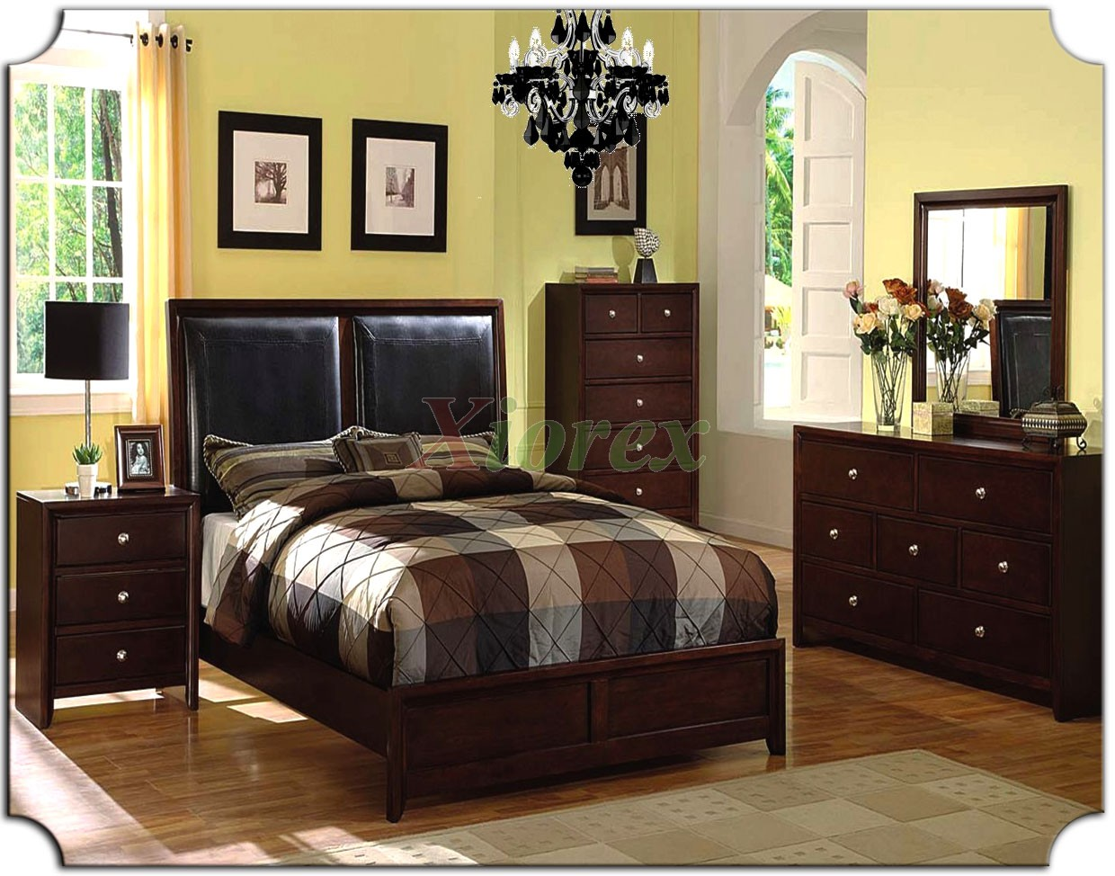 Bedroom Furniture Set with Leather Panel Headboard Beds 161  Xiorex ...