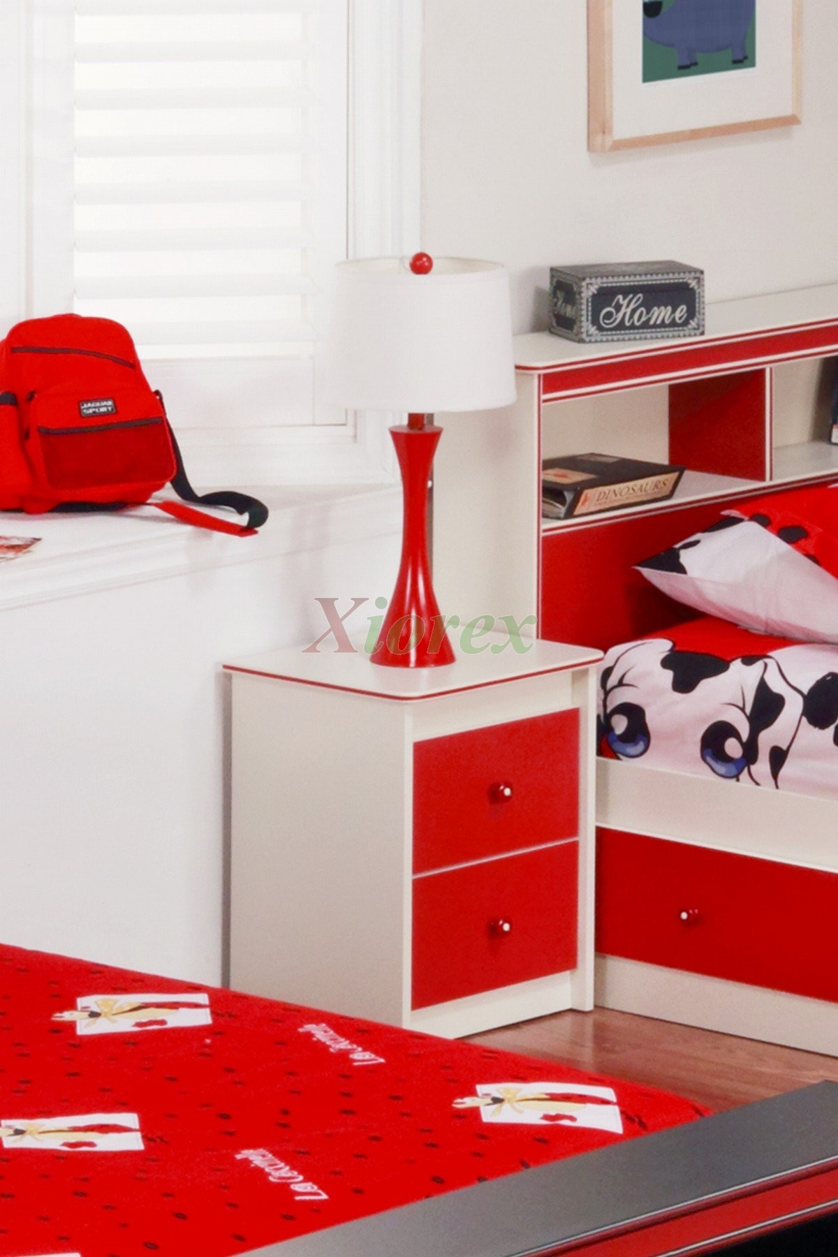 Bedside Table For Kids White Red Life Line Bedside Table | Xiorex ...