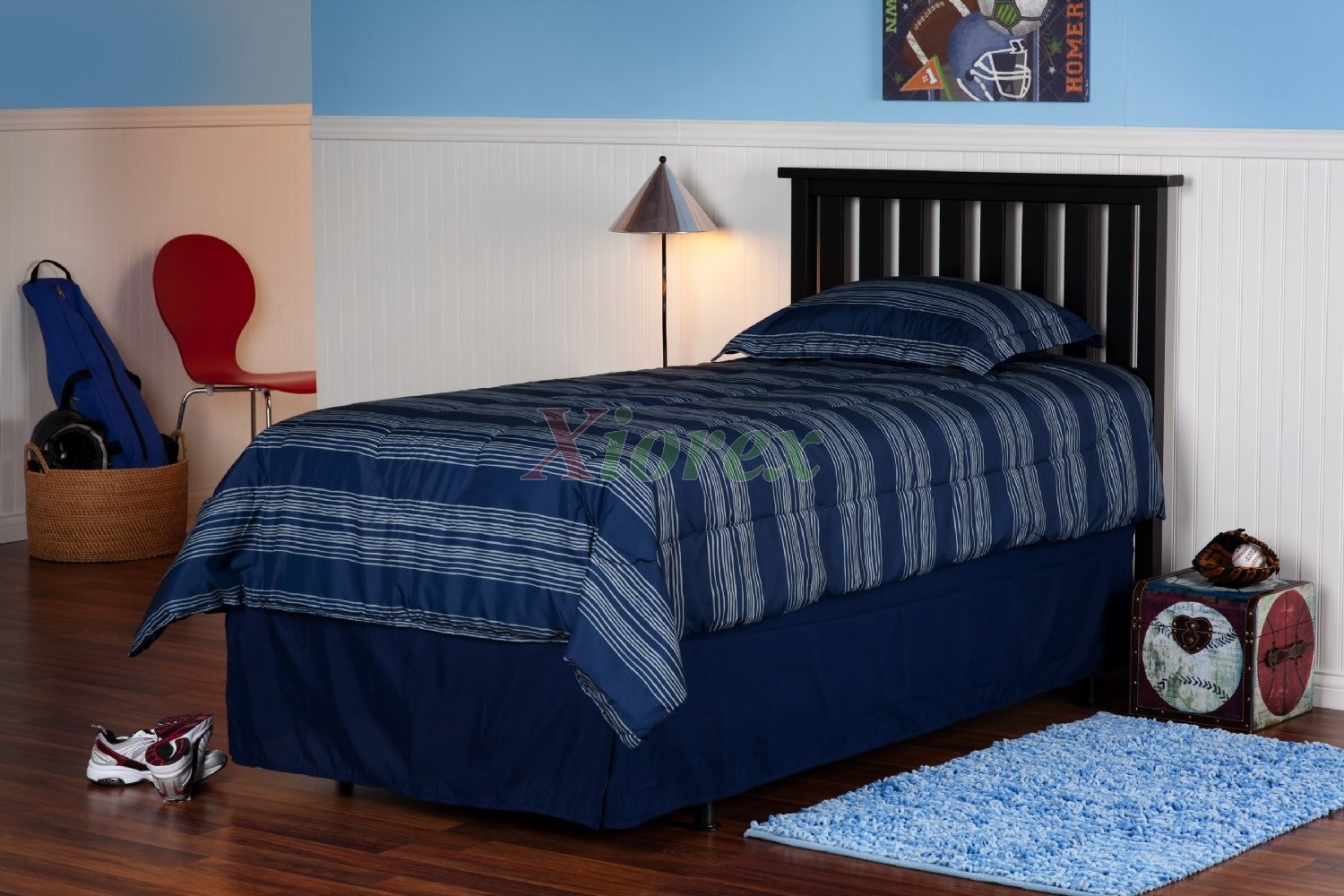 Belmont Headboard Twin Full Queen Size Slatted Wood In Black Xiorex