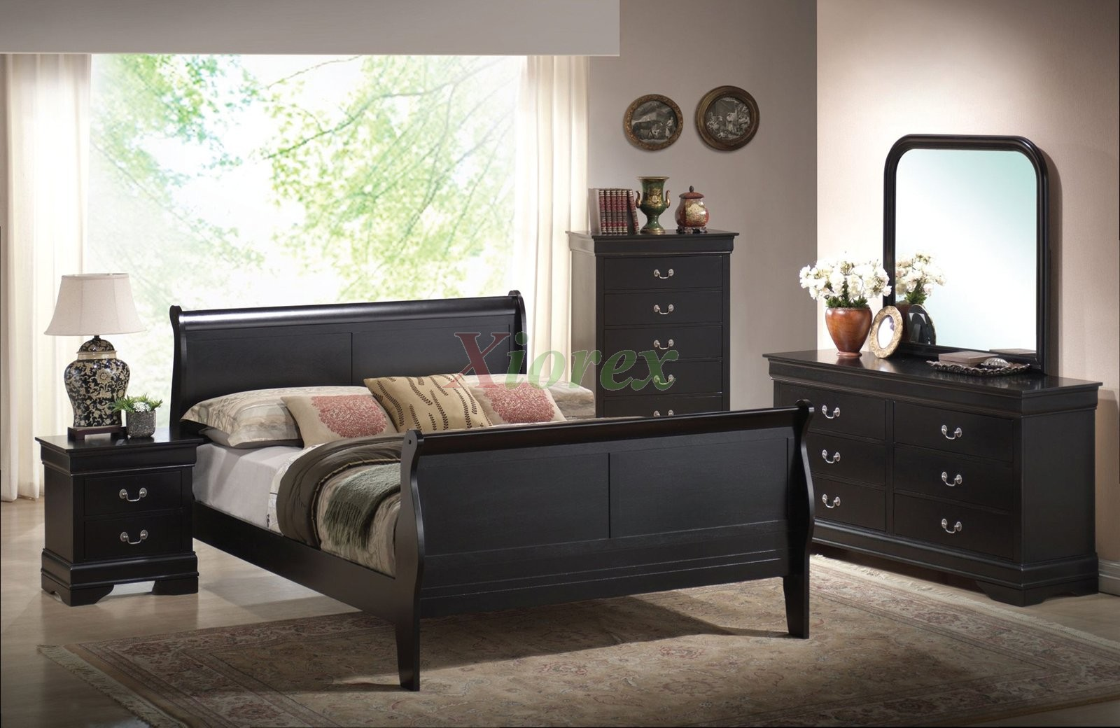 Semi Gloss Sleigh Like Bedroom Furniture Set 170 In Cherry