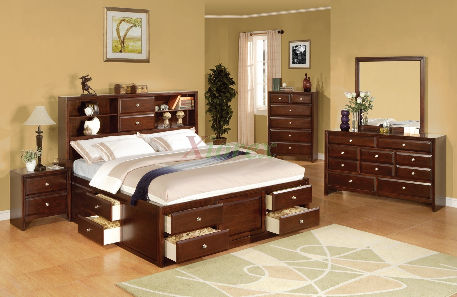 Bookcase and storage bedroom furniture set 137 xiorex for Bedroom furniture
