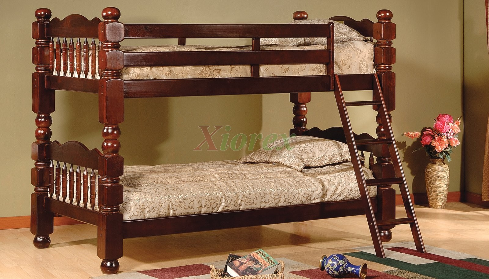 Bunk Beds for Kids with Short Posts Acubens in Burnished Cherry.