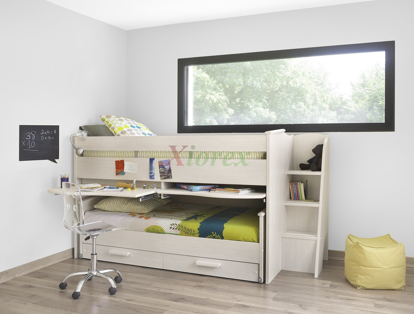 cabin bed gami montana cabin bed w slideout bed in white ash effect