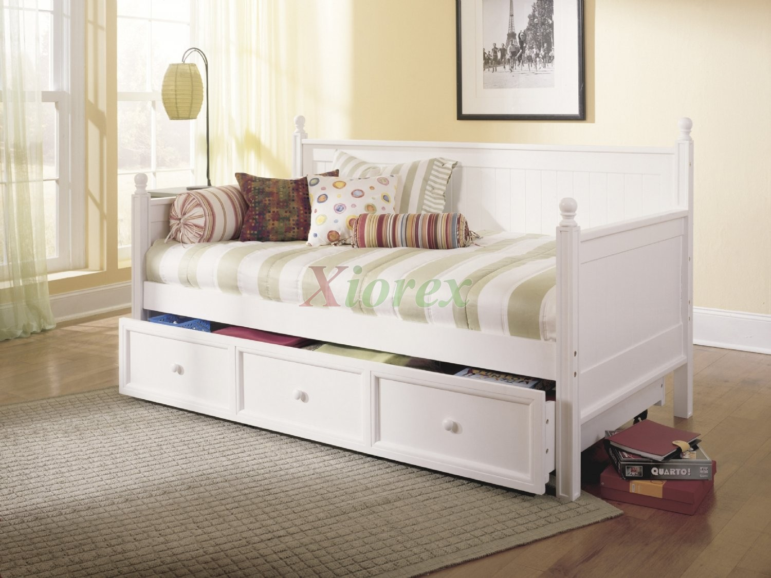 Casey daybed twin size bed w trundle in honey maple white xiorex Mattress twin size
