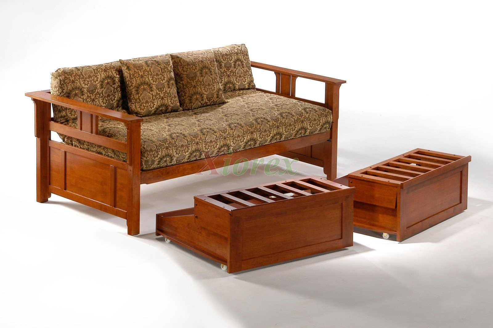 Night and day teddy roosevelt daybed with trundle guest bed xiorex - Solid wood trundle bed with drawers ...