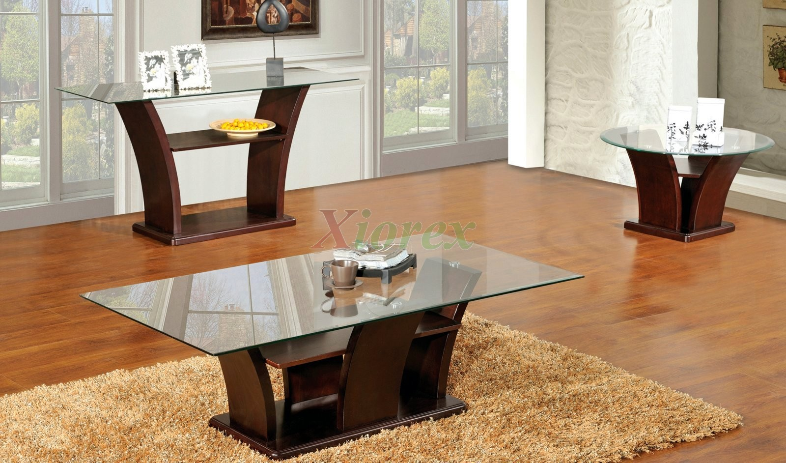 Columba 3 Piece Coffee Table Set with Sofa Console TableXiorex