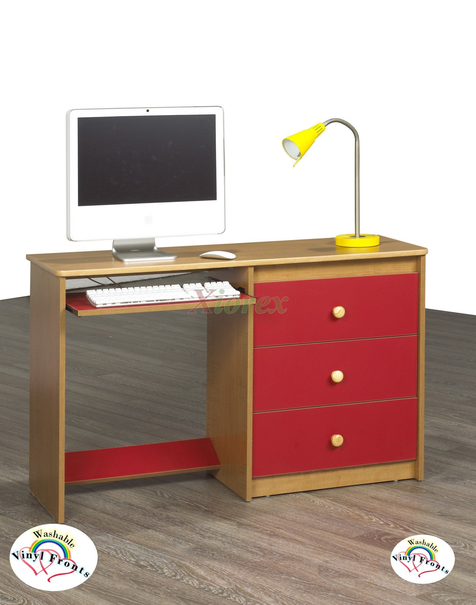 Computer Desk Life Line Cognac W Red Washable Vinyl Fronts