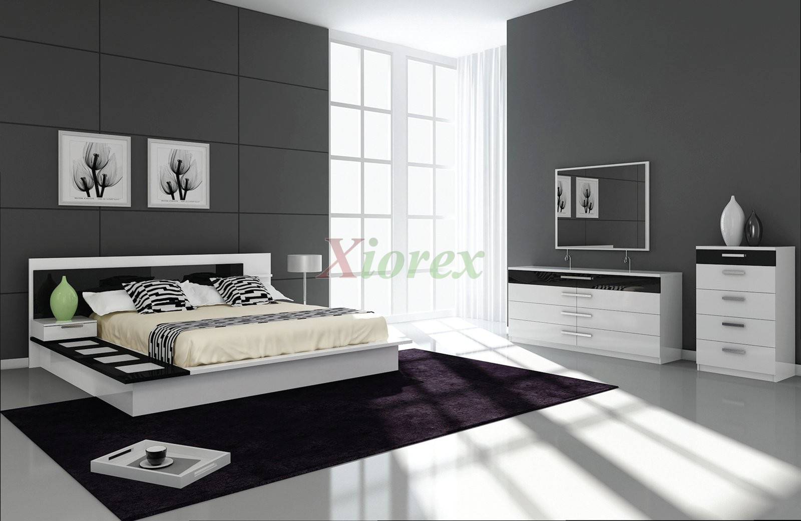 Draco black and white contemporary bedroom furniture sets for Modern black and white furniture