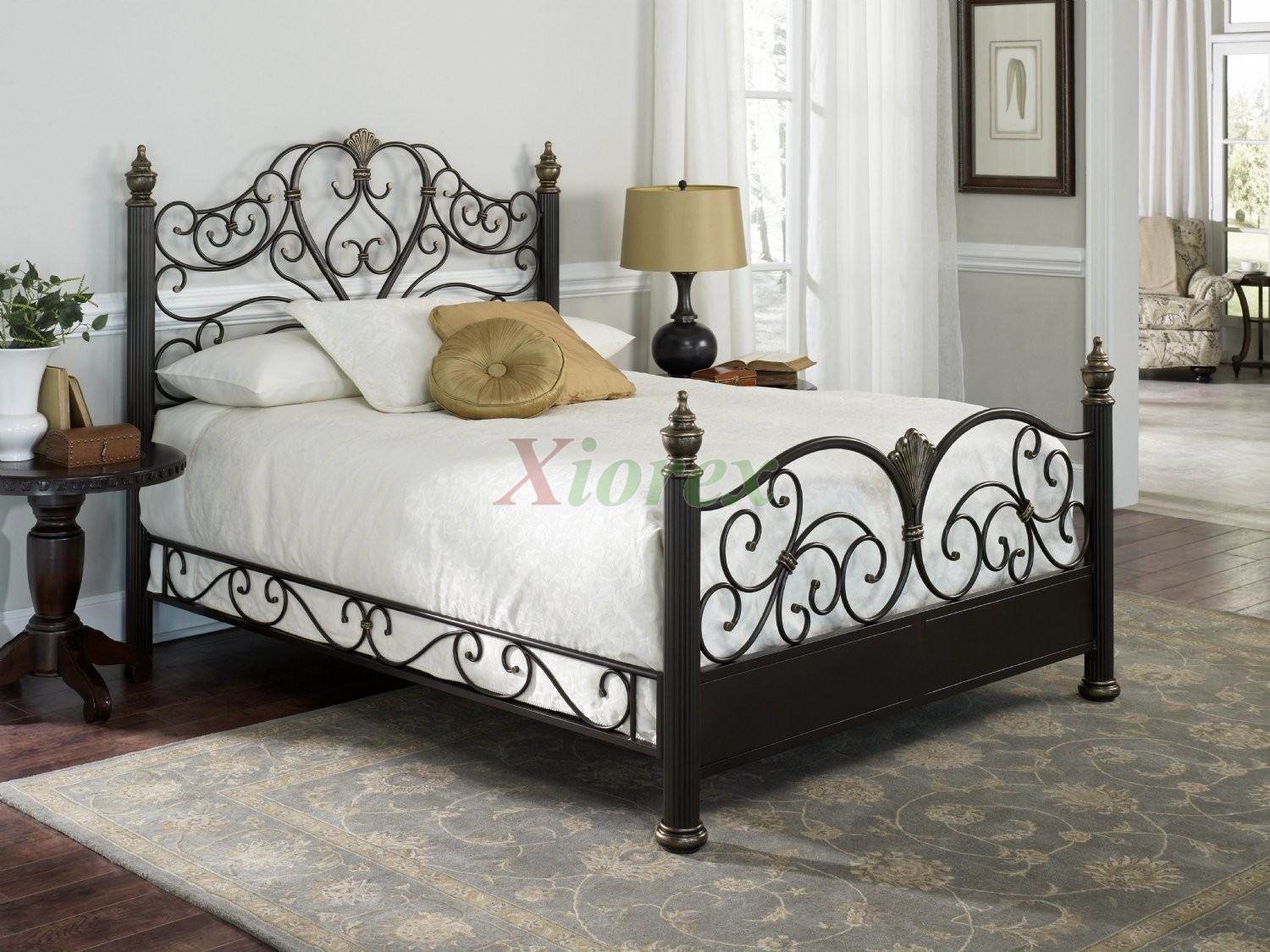Steel Bed Frames Queen Metal Bed Frames Queen Size Extra: Elegance Bed -Poster Bed In Gilded Truffle Finish By