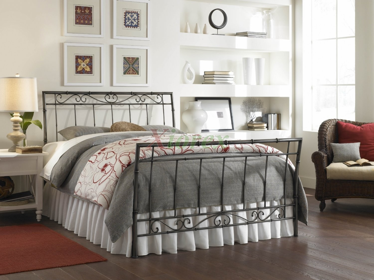ellington bed sleigh bed w heritage silver finish fashion bed group - Fashion Bedroom Furniture