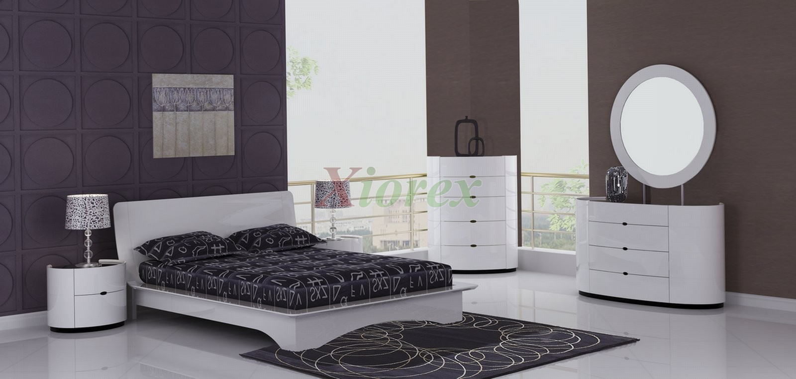 Eri all white modern bedroom furniture sets canada xiorex for Headboard and dresser set