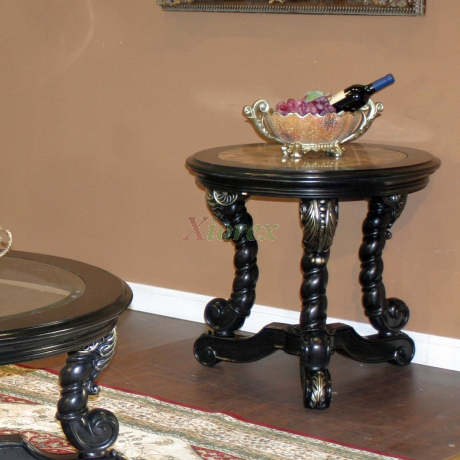 Faux Marble Top Silver Round End Table Toronto | Xiorex