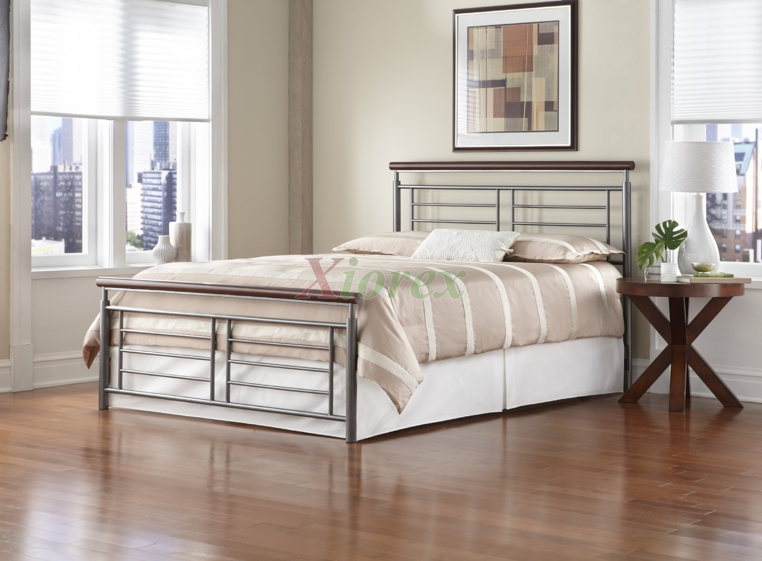Fontane bed w cherry metal silver finish by fashion bed group xiorex - Simple bedroom full set ...