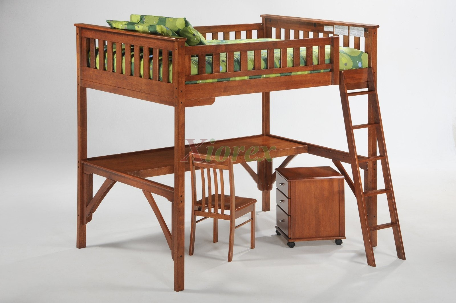Ginger Twin Full Size Loft Bunk Beds With Desk By Night