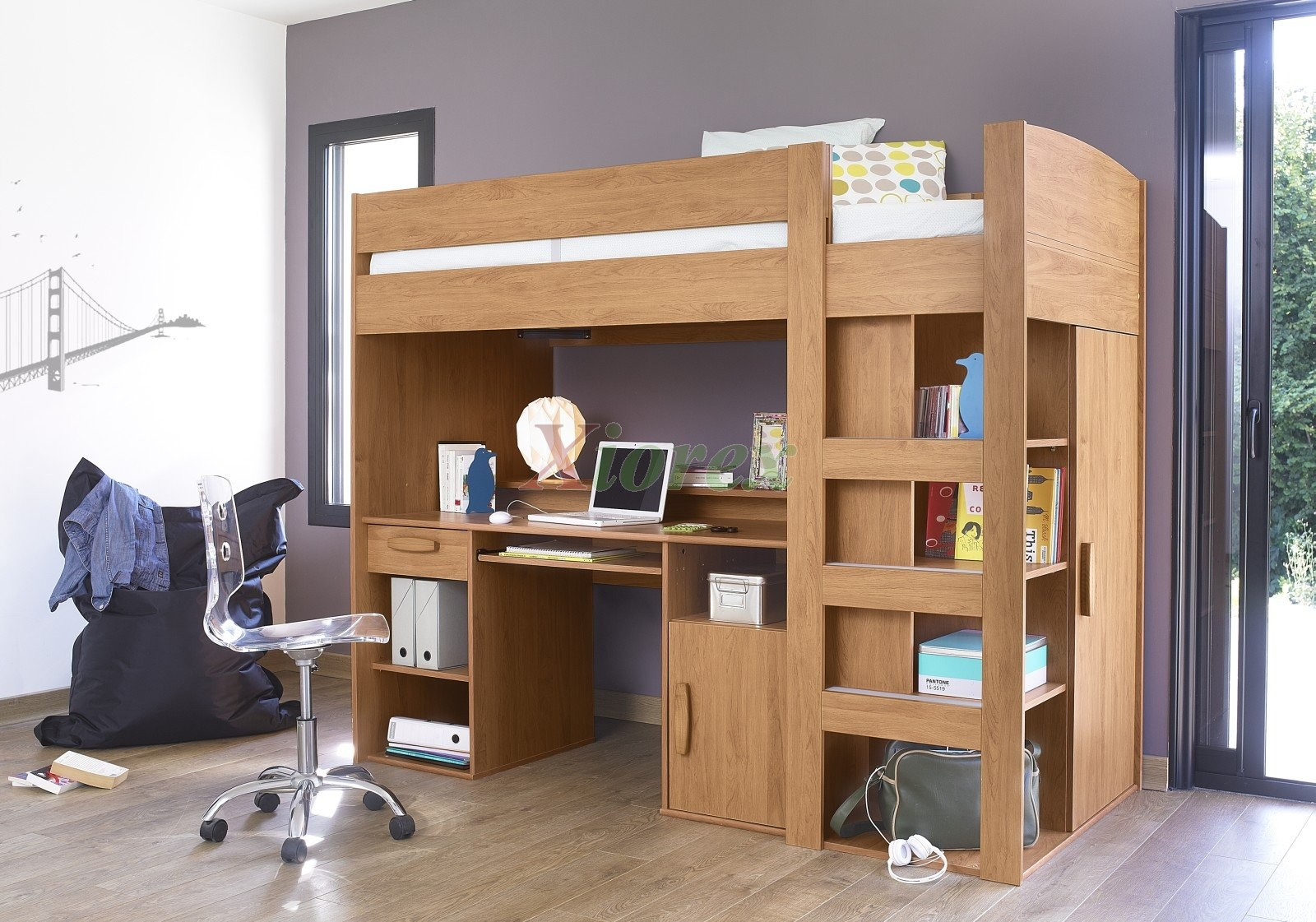 Gami Montana Loft Beds with Desk Closet Storage Underneath Xiorex