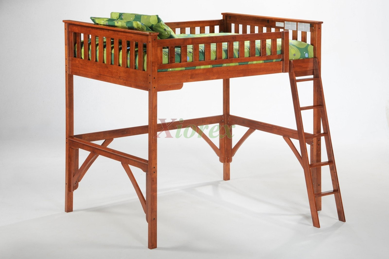 Ginger Twin Full Size Loft Bunk Beds With Desk By Night And Day