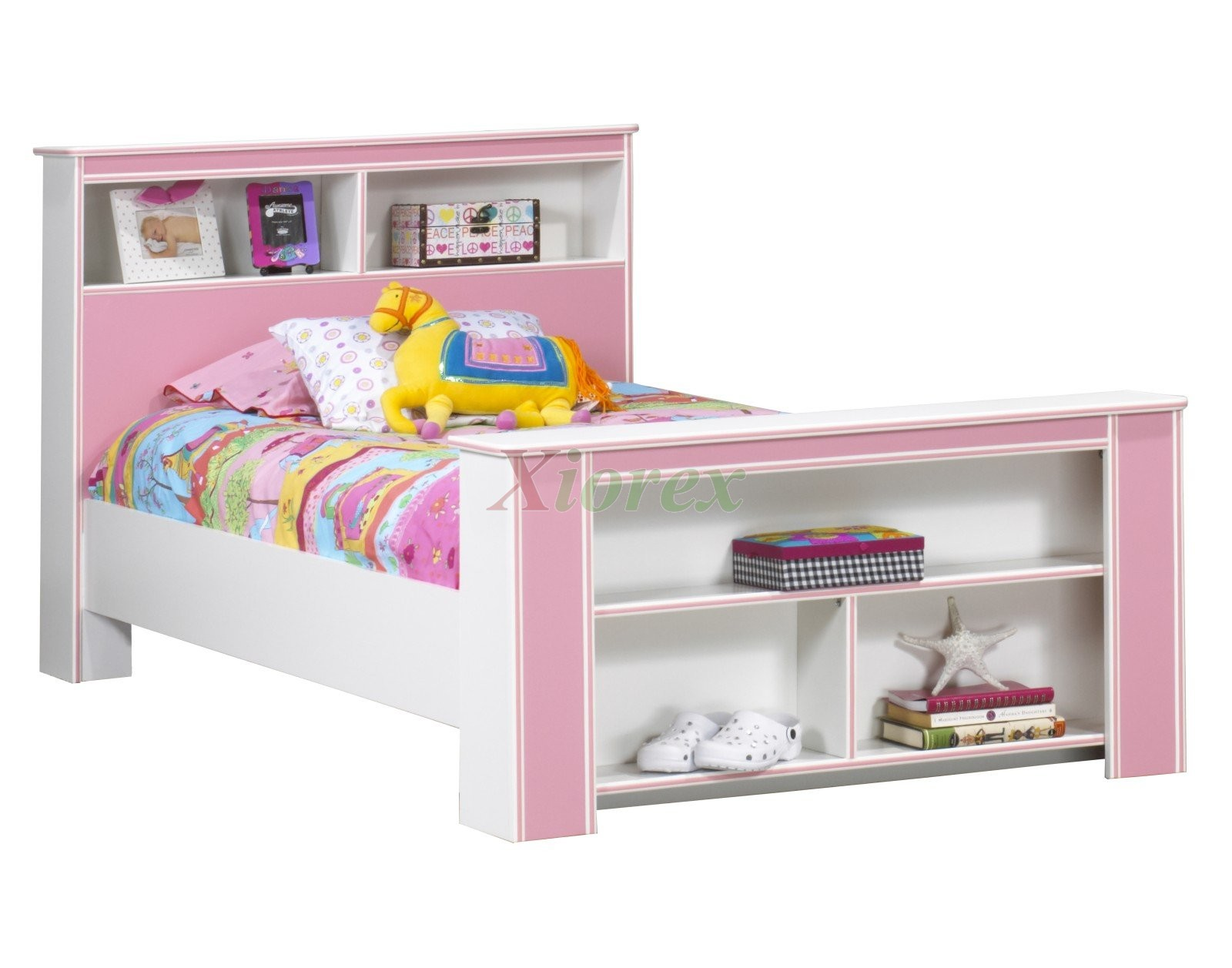 design with brown wooden bed frame complete with cozy white and pink ...