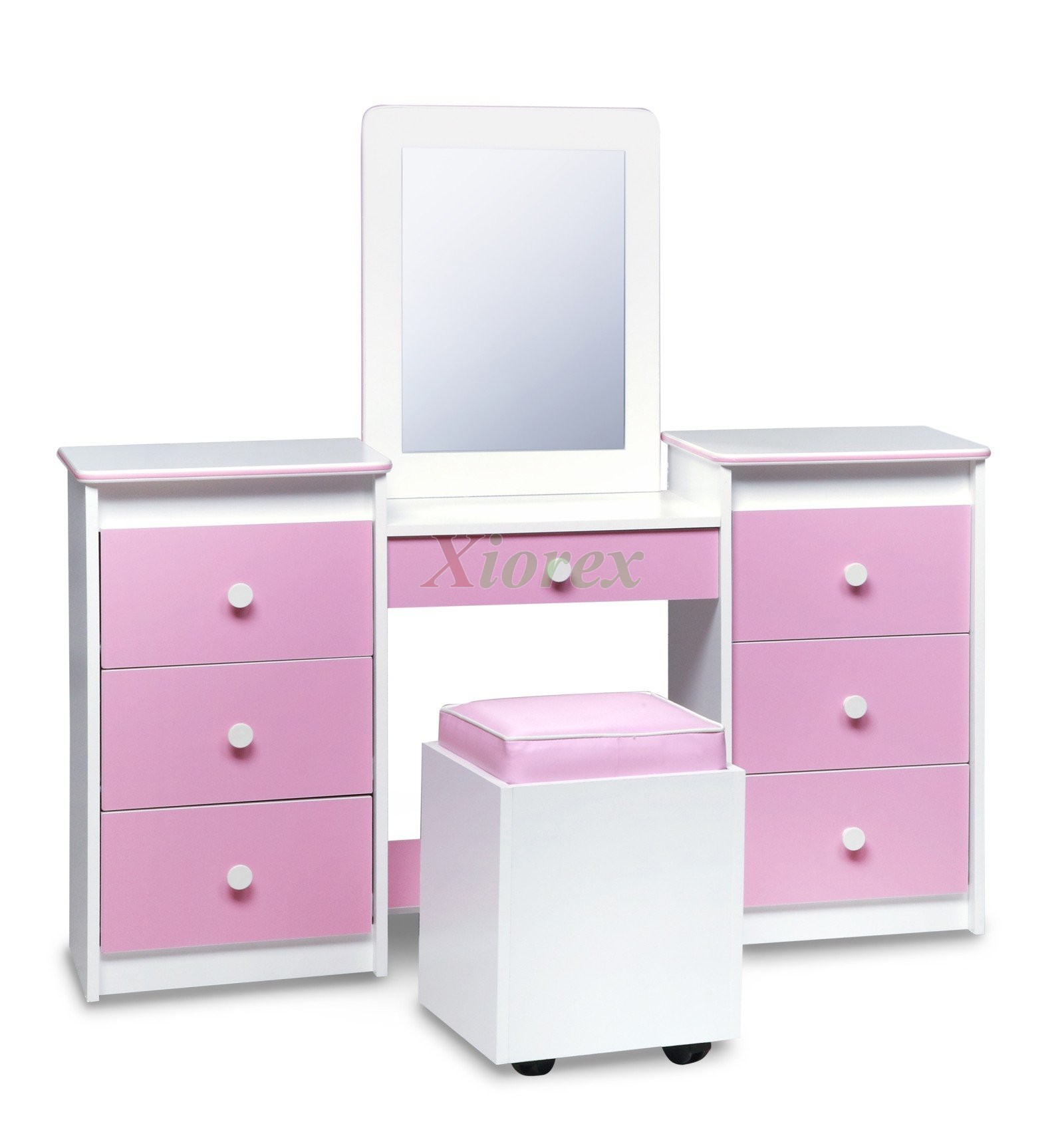 Girls Vanity Set White W Pink Vinyl Fronts Table Seat Mirror By Life Line  ...