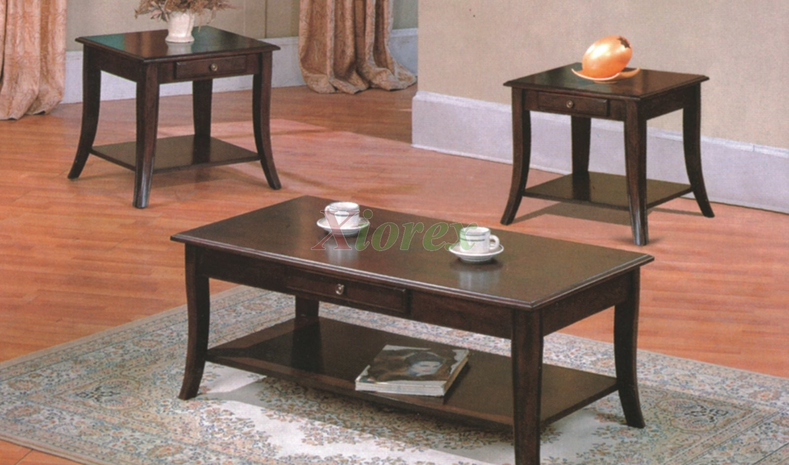 Grus wooden coffee table set with drawers xiorex for Coffee table sets with drawers