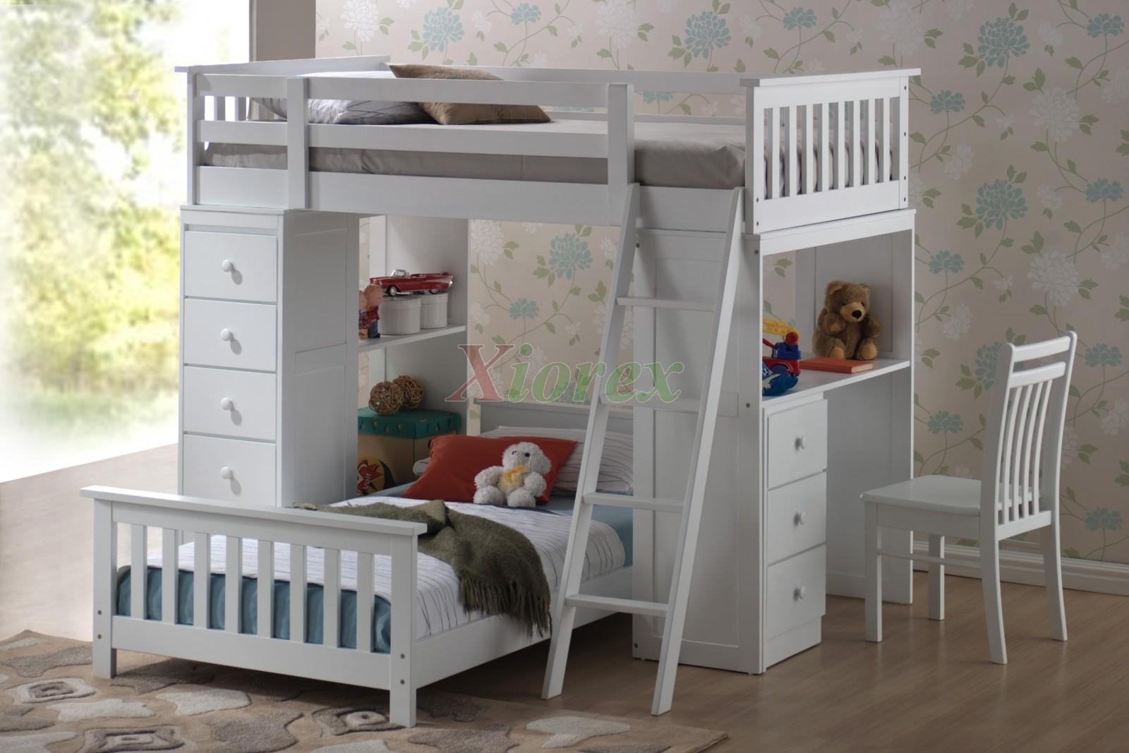 loft bunk beds for kids with storage desk xiorex huckleberry loft title=