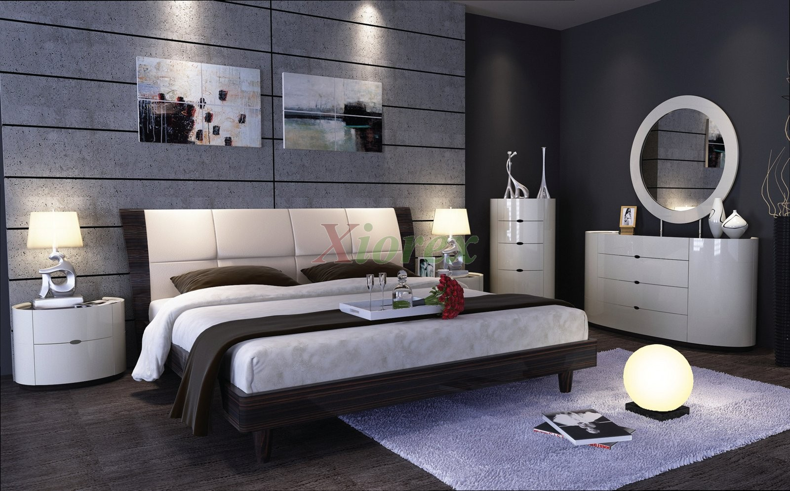Modern Bed Sets With Strong Structure That Come Beautifully Designed Headboards And Deep Curved Corners On The Dresser Chest Nightstands