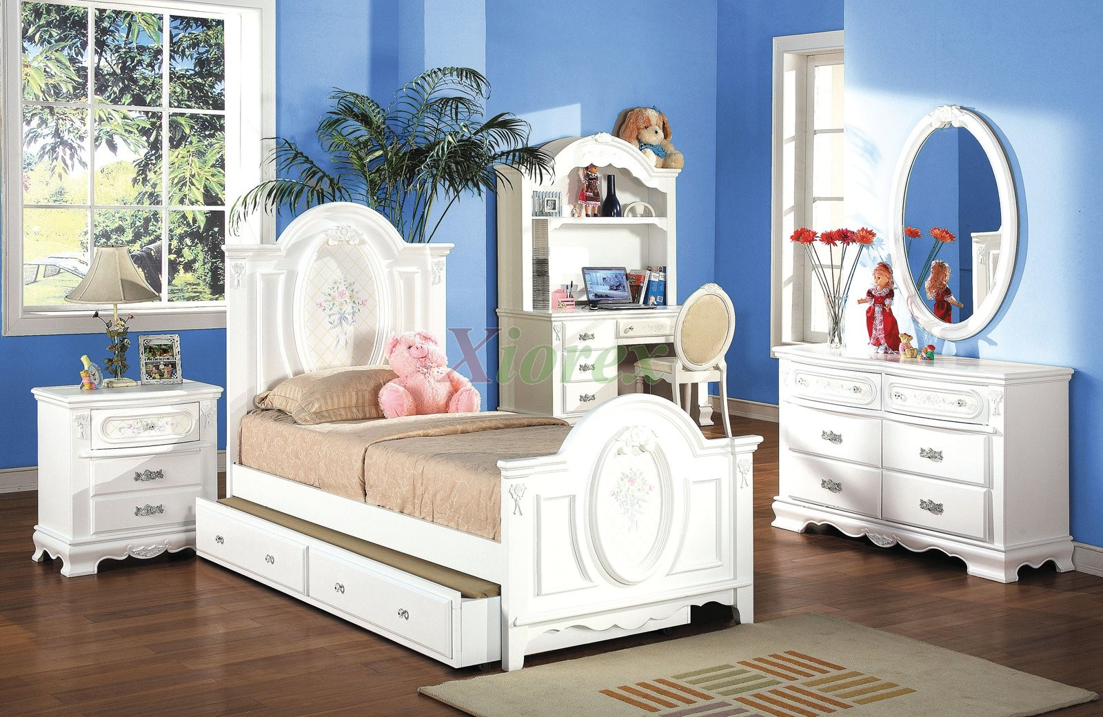 kids bedroom furniture set with trundle bed and hutch 174 xiorex - Kids Bedroom Furniture Sets