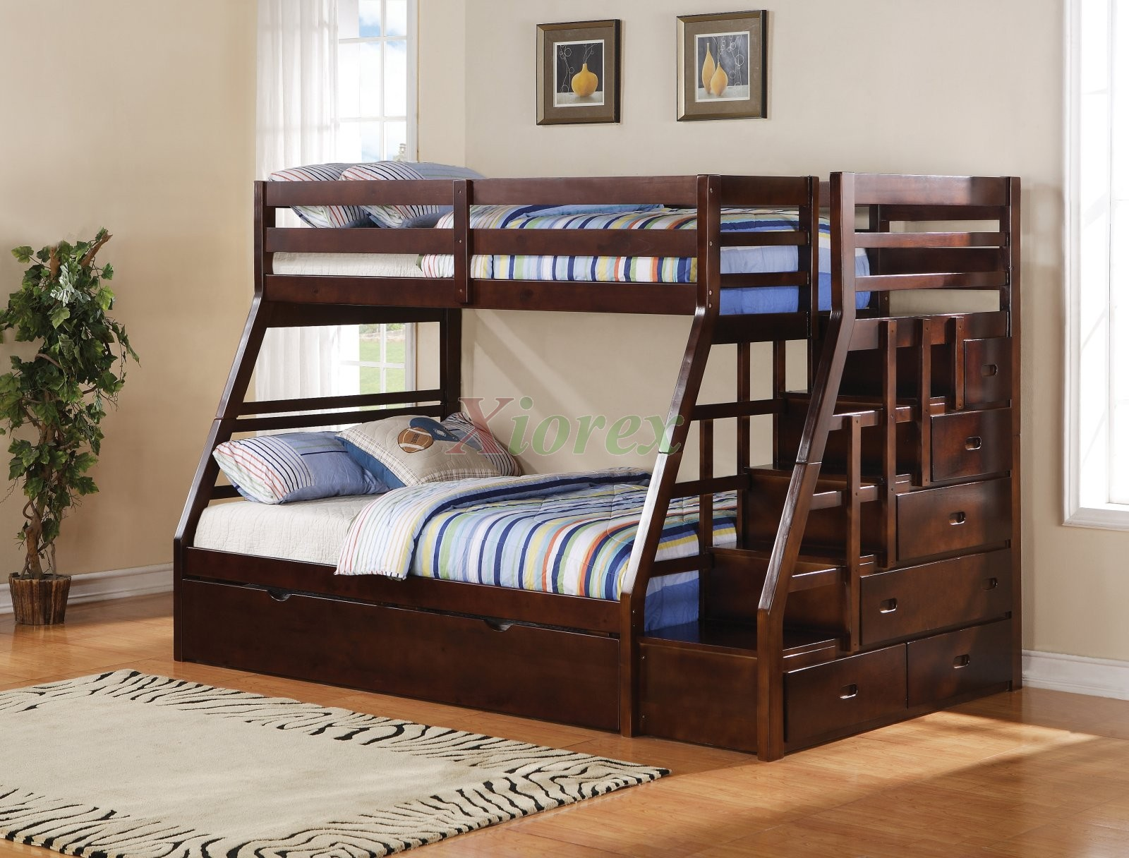 Taurus TwinFull Bunk Bed With Stairs And Trundle In Espresso Xiorex - Kids bedroom furniture calgary