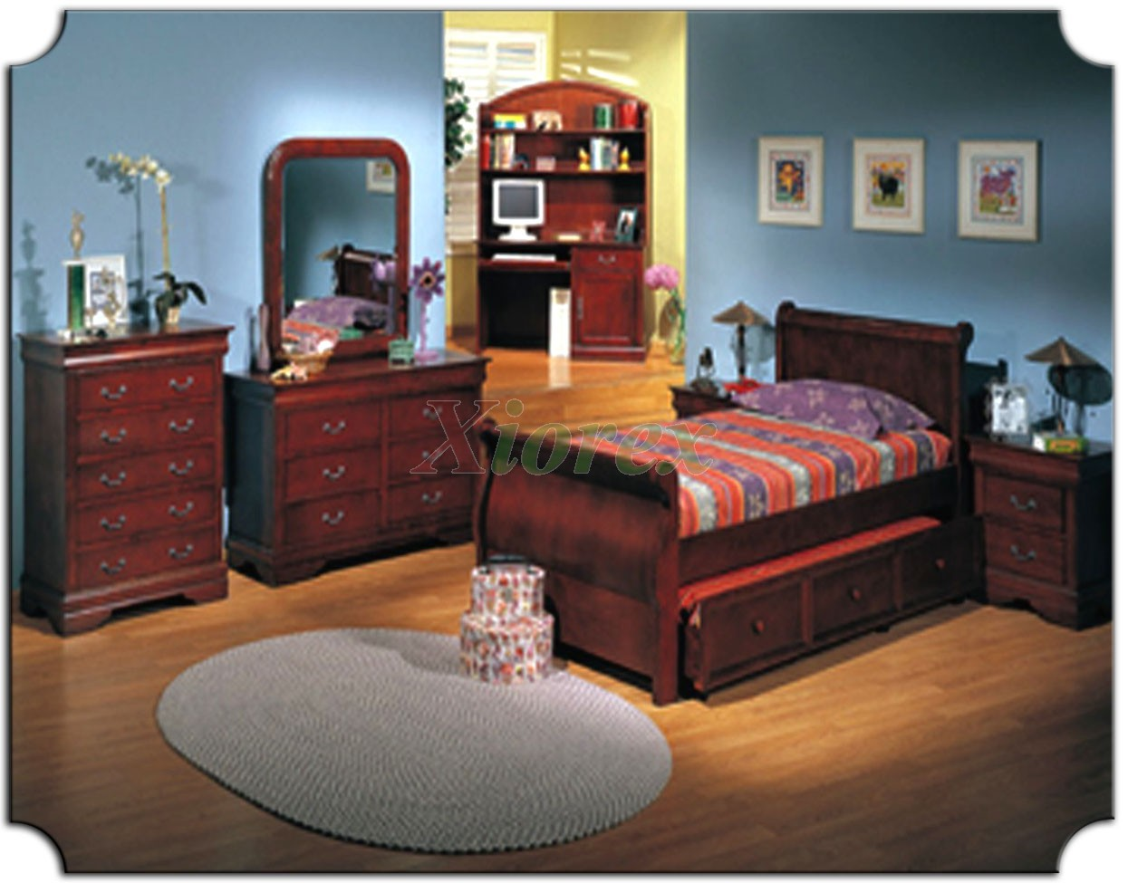 Kids Sleigh Bedroom Furniture Set With Trundle Bed 179 Xiorex