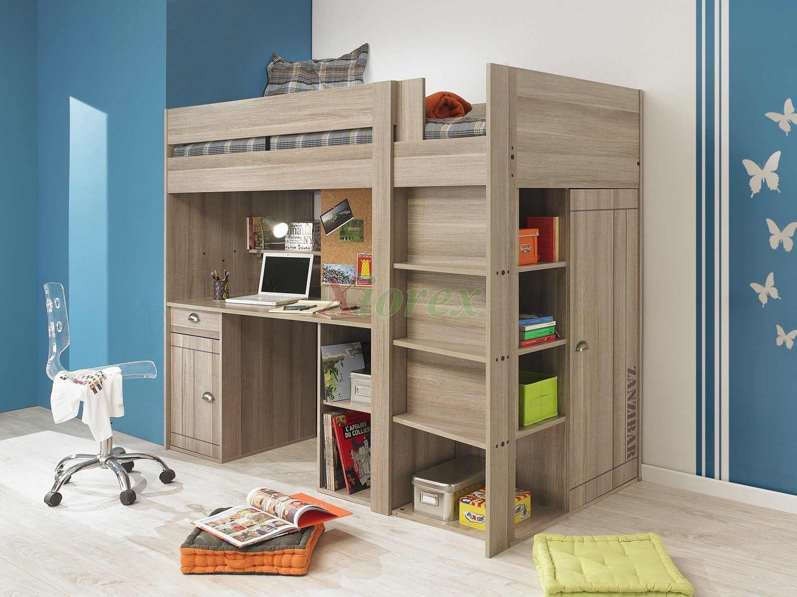 Teen Loft Bed with Desk and Closet 1600 x 1200