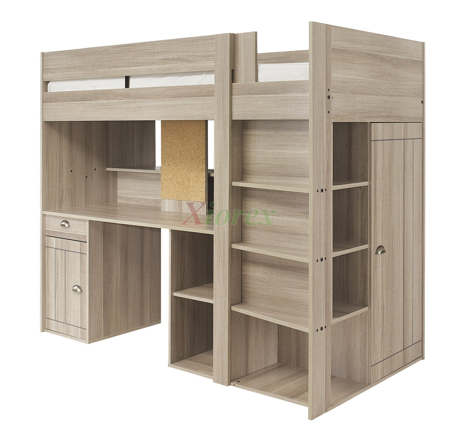 Gami largo loft beds for teens canada with desk closet for Bureau gautier