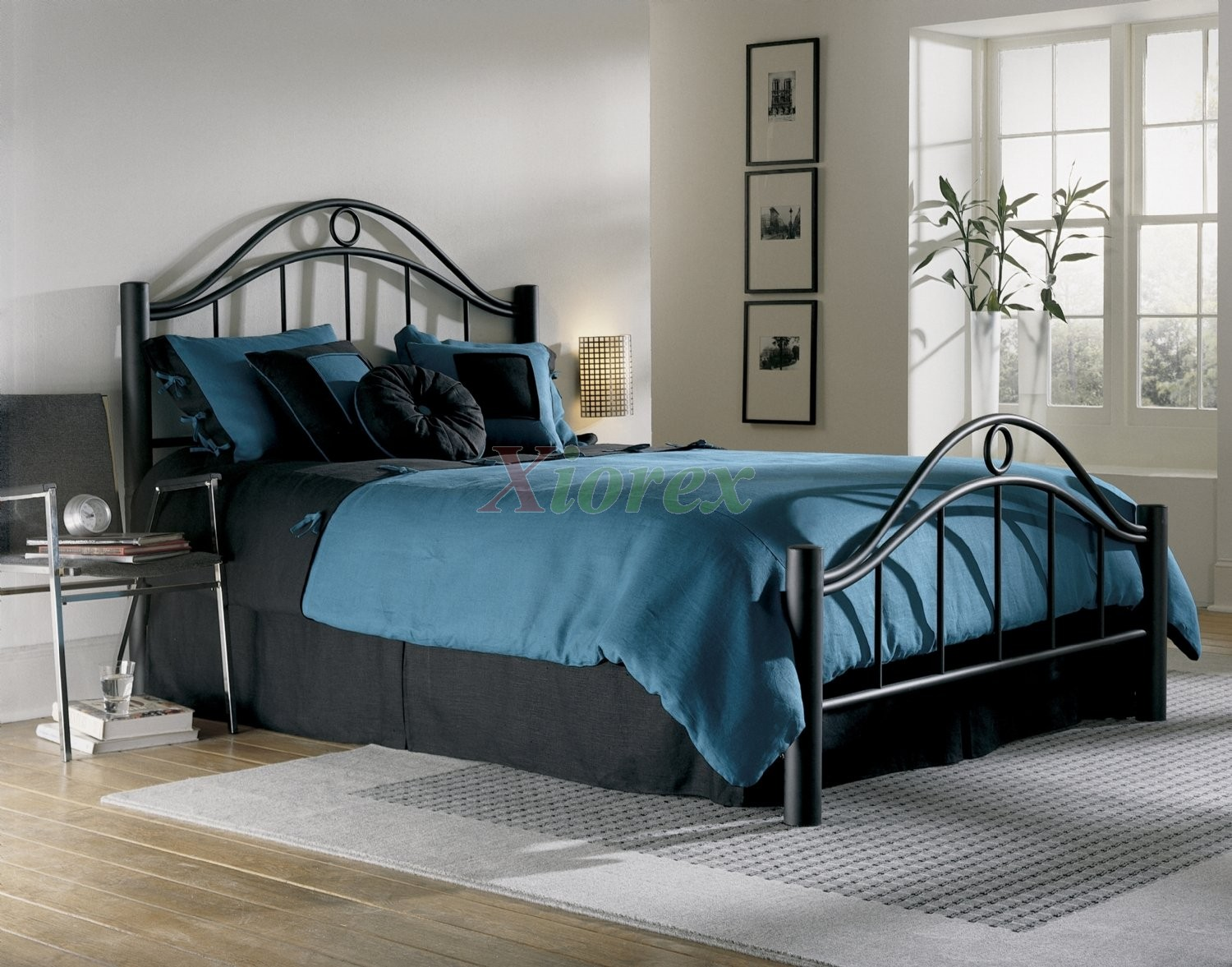 Linden Bed - Metal Bed w Frame in Matte Ebony Finish by FBG | Xiorex