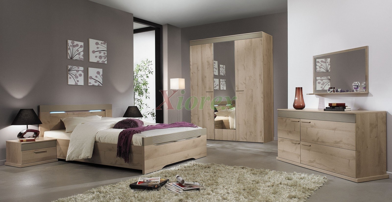 Master bed perla gami master bed sets oak plum effect for Chambre contemporaine adulte