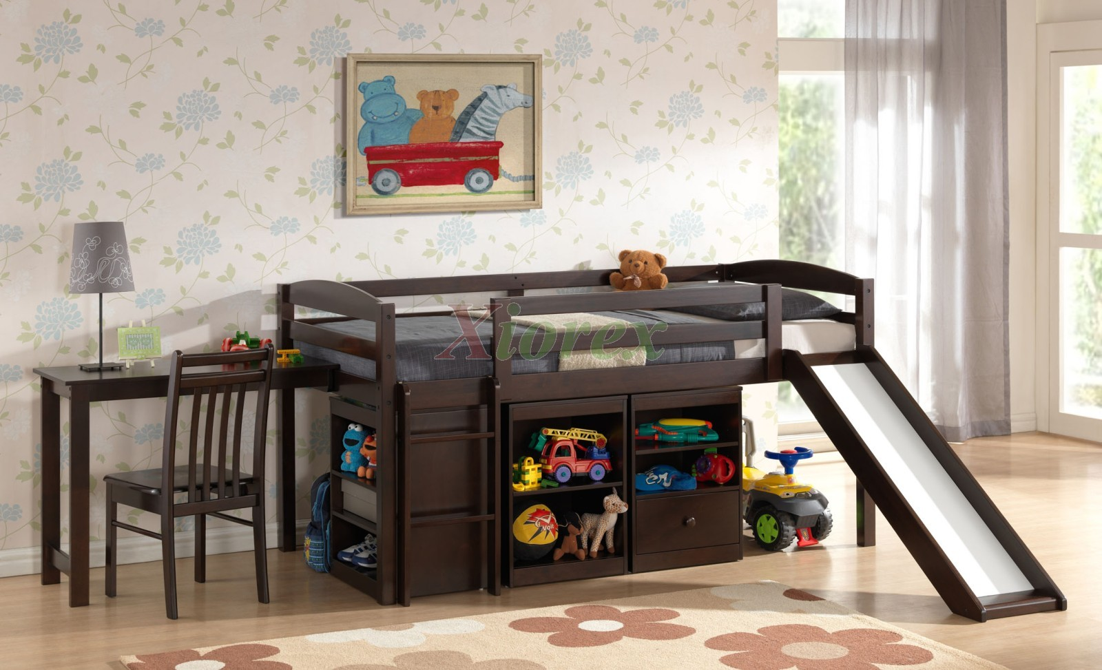 Kids Bedroom Furniture With Desk Mulberry Boys Girls Cabin Loft Beds With Slide Desk Storage