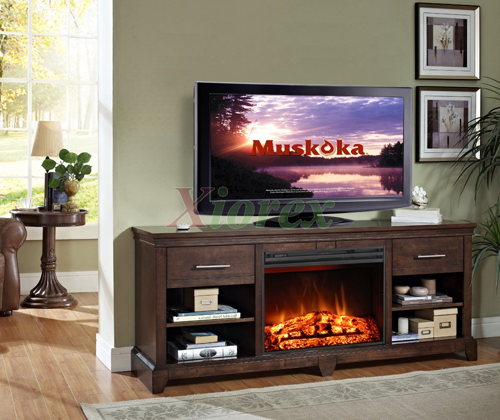 "Kerr Fireplace - A Greenway media fireplace that accommodates up to a 63"" flat panel TV. Comes with four shelves and two drawers for ample storage. It can heat up to 400 sq. ft."