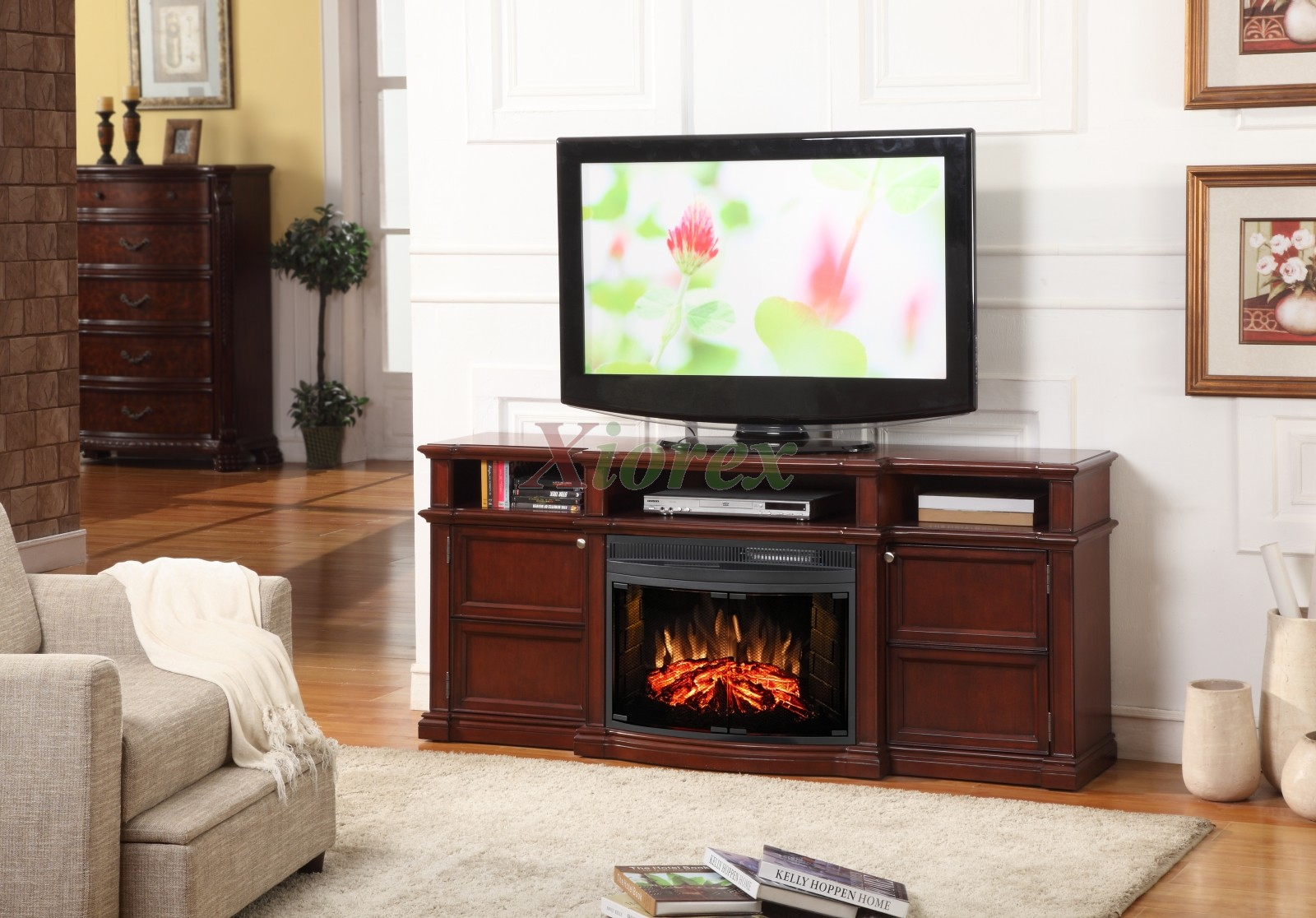 "Merrill Fireplace - A Greenway entertainment fireplace that accommodates up to a 60"" flat panel TV with ample storage for electronic components. The space saving storage compartments are behind elegant cabinet style doors."