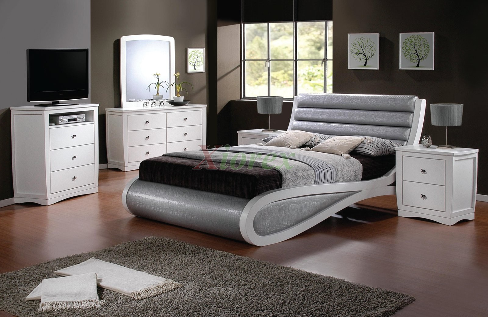 Modern platform bedroom furniture set 147 xiorex for Full room furniture design