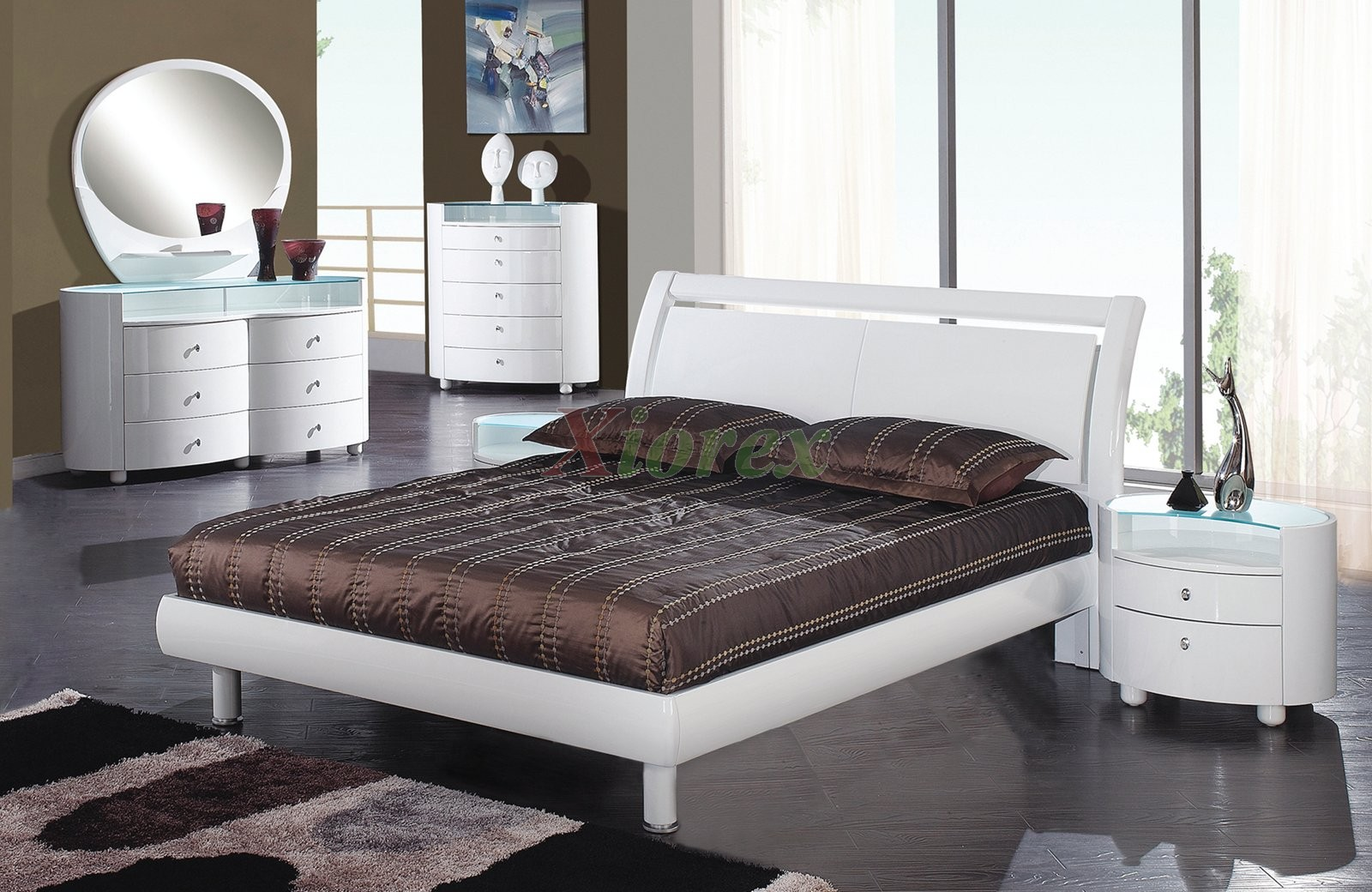 High gloss modern platform bedroom furniture set 154 xiorex for High gloss bedroom furniture