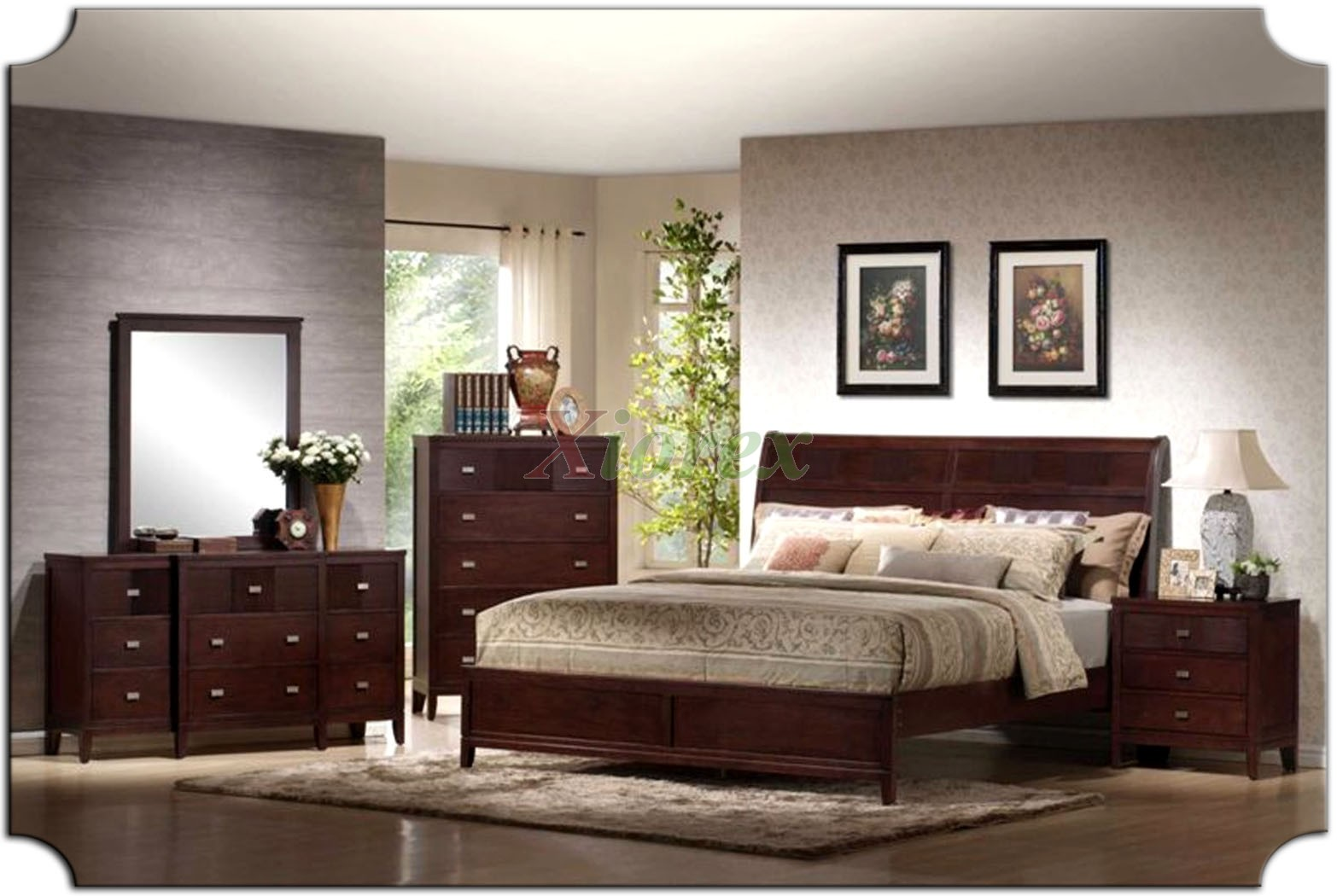 Platform bedroom furniture set with curved headboard beds for Headboard and dresser set