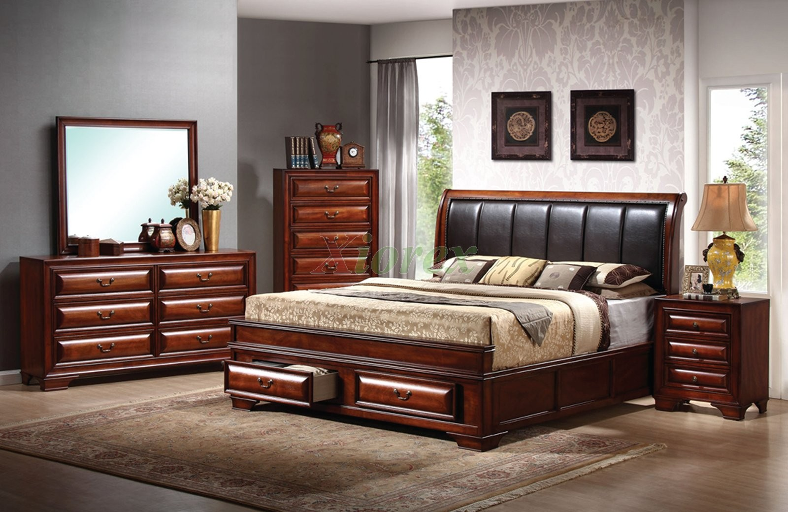 Platform Bedroom Furniture Set with Leather Headboard Beds 115 ...