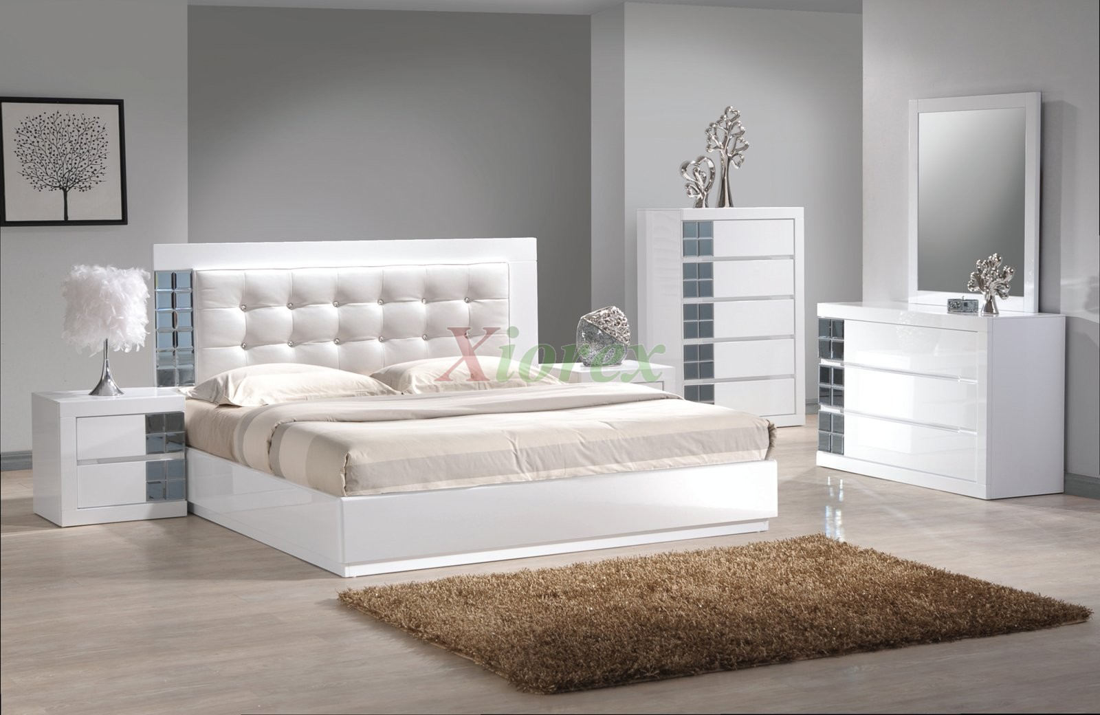 Platform Bedroom Furniture Set w Upholstered Headboard Beds ...