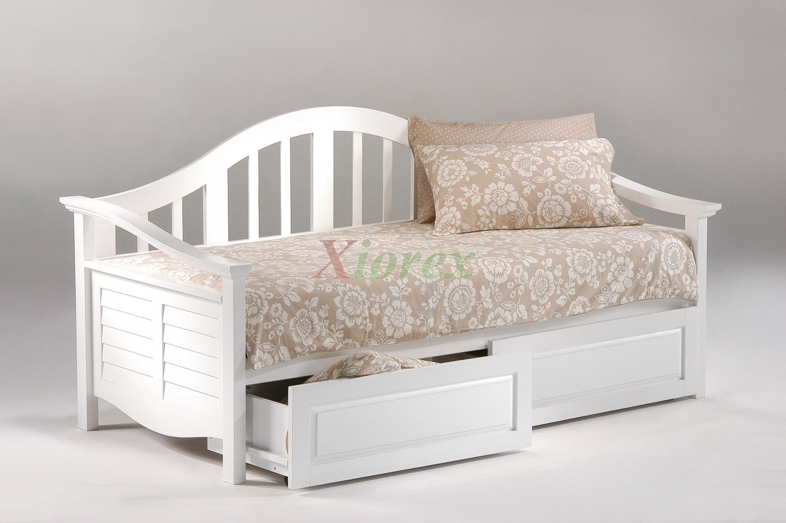 Seagull Daybed Twin Size White Day Bed With Trundle Bed