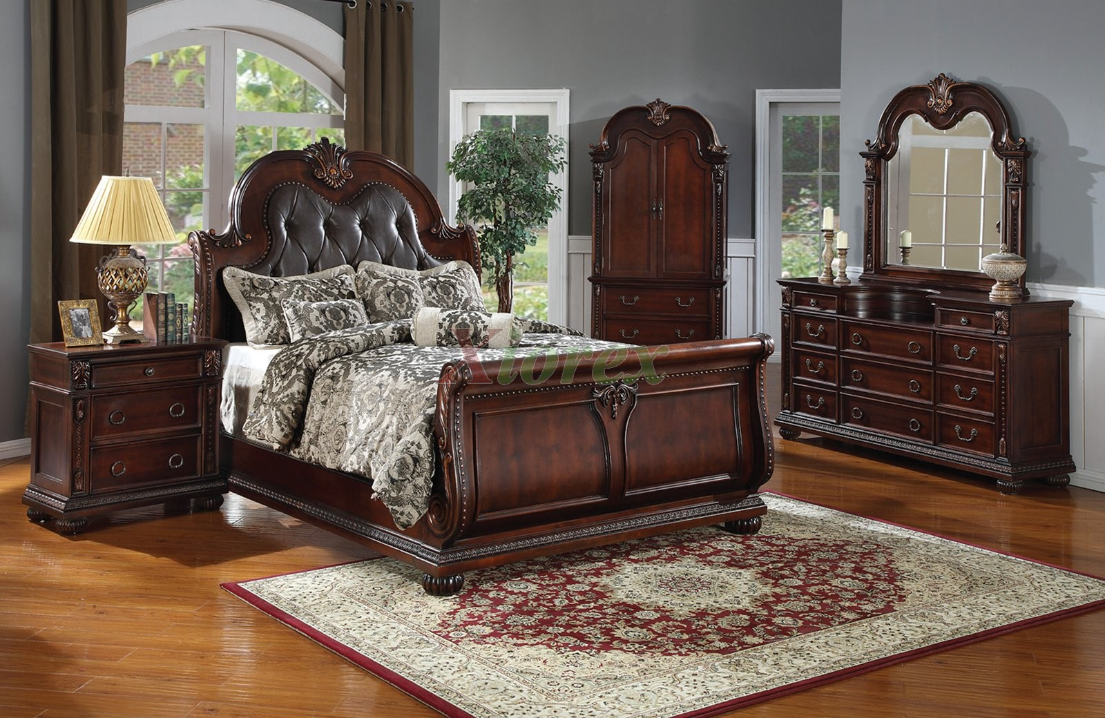 Bed headboard leather - Sleigh Bedroom Furniture Set With Leather Headboard 119 Xiorex Not Available In The Us