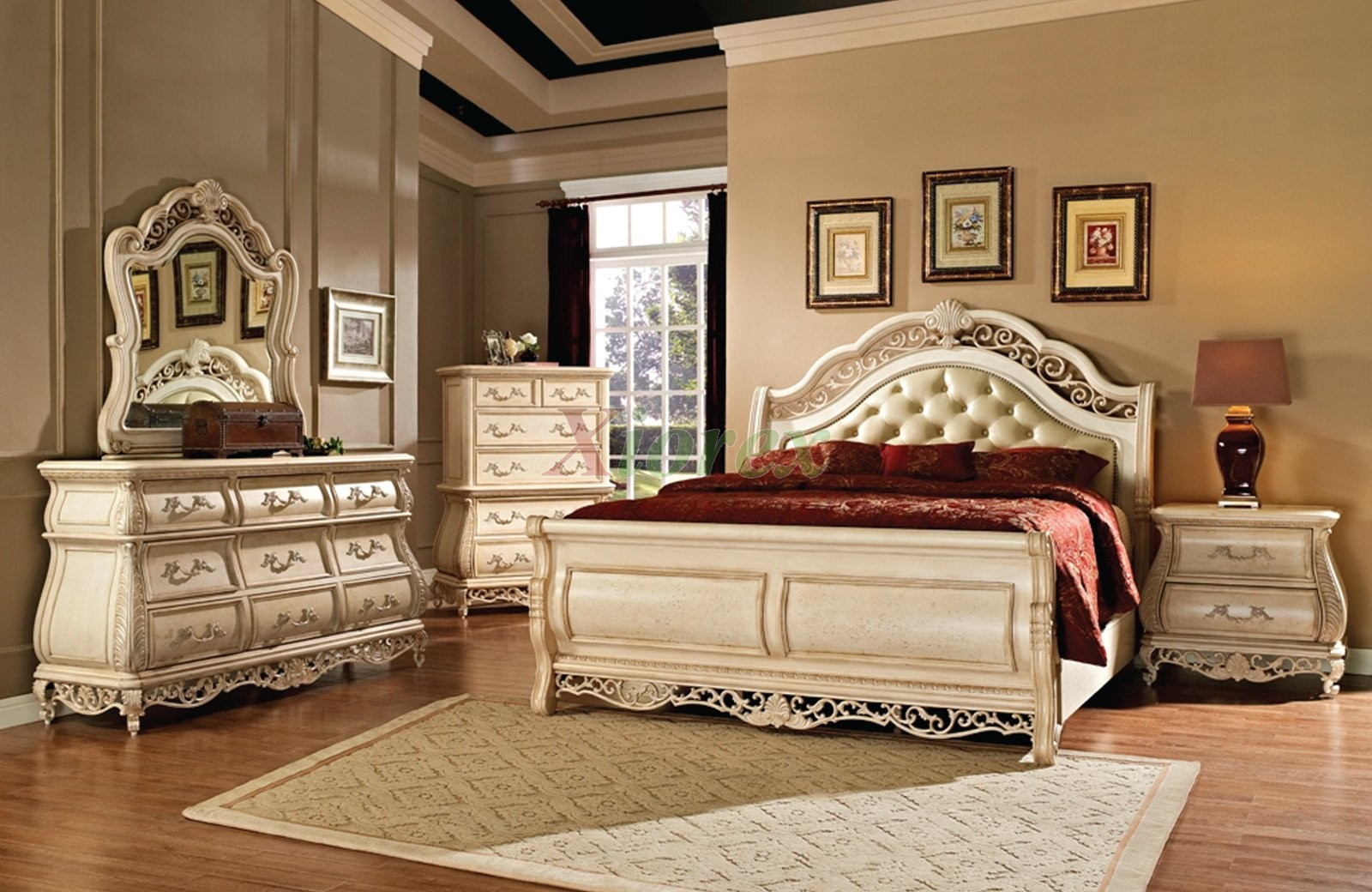 Sleigh Bedroom Furniture Set with Leather Headboard 142 | Xiorex