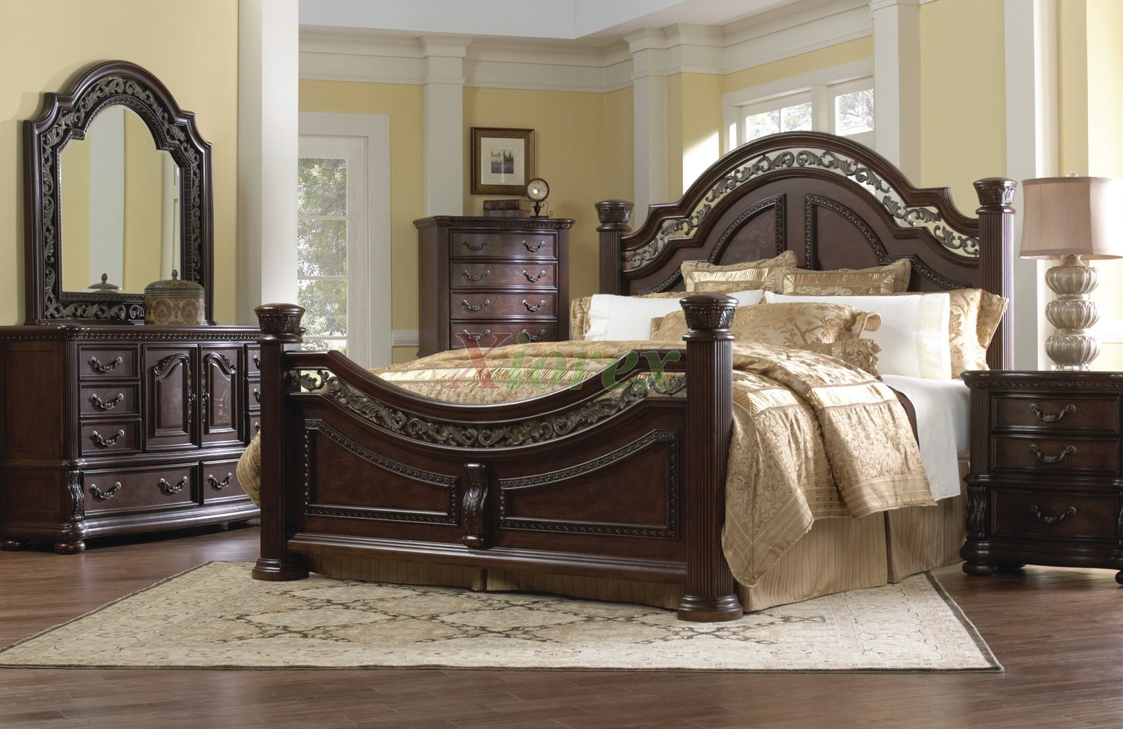Traditional bedroom furniture set w arched headboard beds for Traditional bedroom furniture